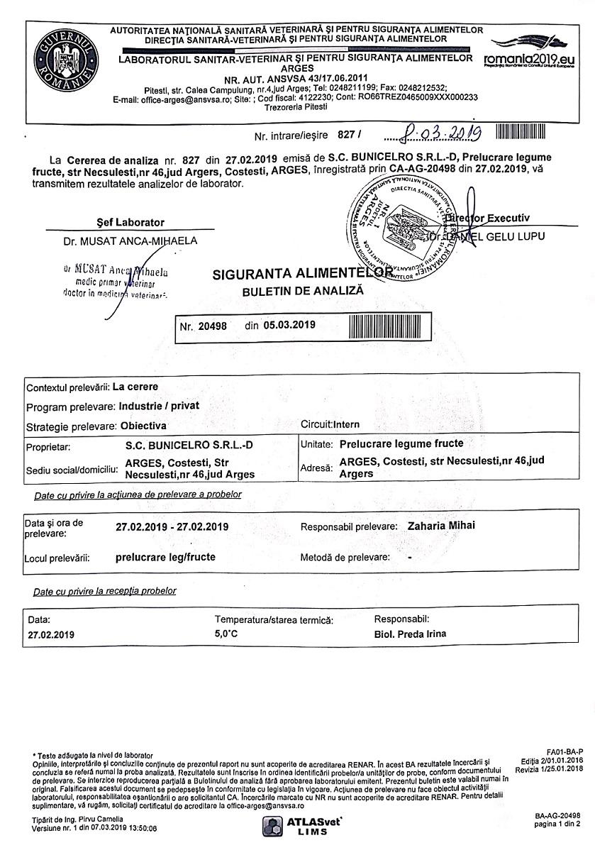 Analize Microbiologice - Dulceata de Nuci Verzi - BunicelRo SRL - pag 1