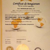 Certificat HACCP-ISO 22000 - BunicelRo SRL