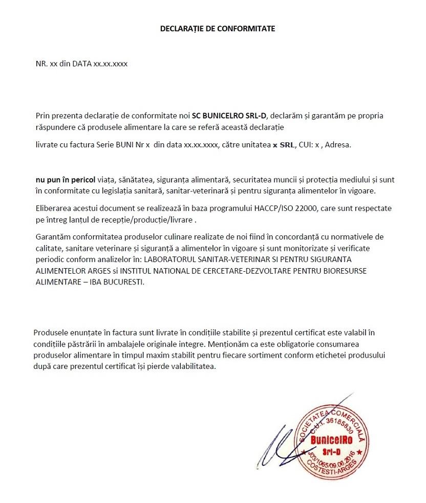 Declaratie de conformitate BunicelRO SRL
